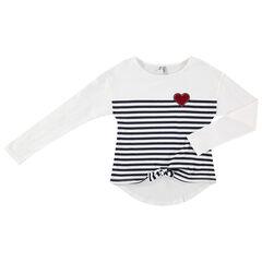 Junior- Gestreept T-shirt met lange mouwen en hart van velours