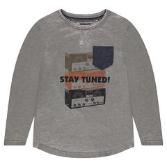Junior - T-shirt met lange mouwen en afgewassen effect met vintage print