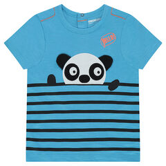 Tee-shirt manches courtes en jersey avec rayures placées et panda en relief