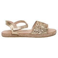 Gouden sandalen met pailletjes en zool met gevlochten touwtjes