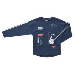 Junior - T-shirt met lange mouwen van gemêleerde jerseystof met zakje en kleurrijke prints
