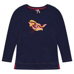 Geribd T-shirt met borduurwerk met vogel
