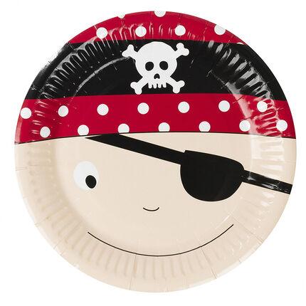 x 10 assiettes anniversaire en carton motif Pirate