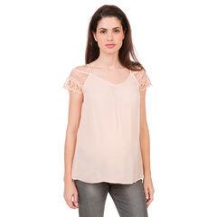 Zwangerschaps t-shirt met ontblote schouders en kant