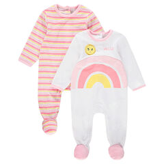 Set met 2 pyjama's van velours met strepen en regenboog