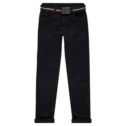 Pantalon en twill coupe slim avec ceinture amovible