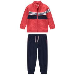 Jogging in twee kleuren met vest met rits en broek van effen molton