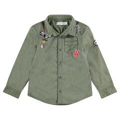 Hemd met lange mouwen van geverfd katoen met opgestikte badges