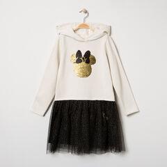 Robe manches longues à capuche motif Minnie Disney en sequins magiques