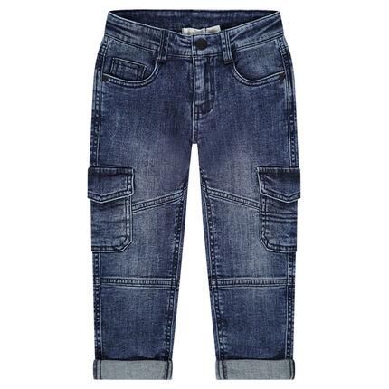 Jeans met used en crinkle-effect met grote zakken