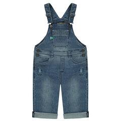 Salopette courte en jeans used avec badge patché