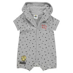 "Korte playsuit met kap en letters ""all-over"" en met ©Smileybadge"