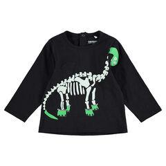 HALLOWEEN T-shirt met lange mouwen met print met dinosaurusskelet