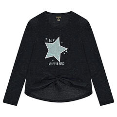 Junior - T-shirt met lange mouwen van gemengd breiwerk met blinkende draad