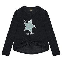 Junior - Tee-shirt manches longues en maille mélangée de fil brillant