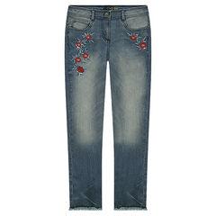 Junior - Jeans met used en crinkle effect en geborduurde rozen