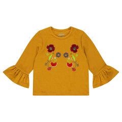 T-shirt met mouwen met volants en borduurwerk met bloemen