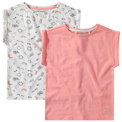 """Set met 2 T-shirts van effen katoen / met print """"all-over"""""""