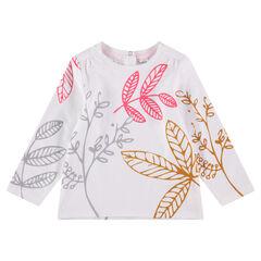 T-shirt met lange mouwen en contrasterende plantenprint
