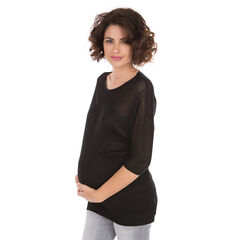 Zwangerschapstrui van effen ajourbreiwerk