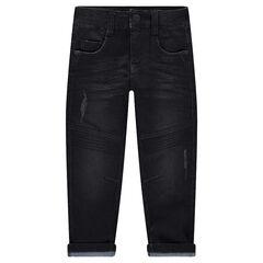 Jeans met used en crinkle-effect en sierstiksels