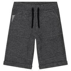 Junior - Bermuda en molleton gris chiné avec poches