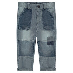 Jeans rayé effet used non doublé
