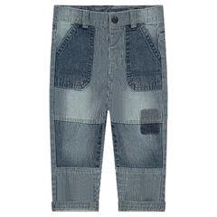 Jeans rayé effet used non doublé