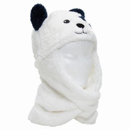 Muts/sjaal van sherpastof in de vorm van een beer