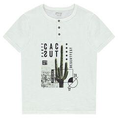 Tee-shirt manches courtes en jersey avec cactus printé