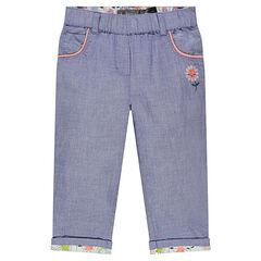 Pantalon en chambray avec fleur brodé
