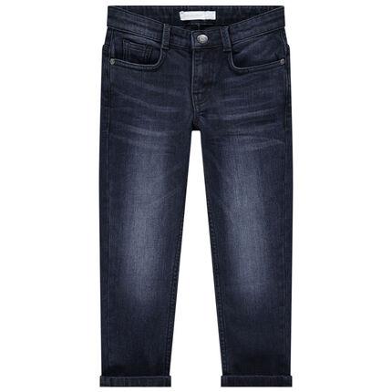 Jeans met used en crinkle-effect en zakken