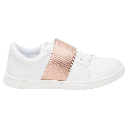 Lage sneakers met goudroos elastisch inzetstuk van maat 28 tot 35