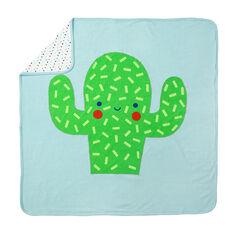 Deken uit jerseystof met motief/print met pluchen cactus