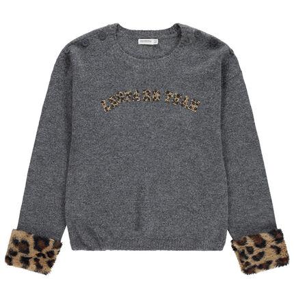 Junior - Pull en tricot gris avec bout des manches en fausse fourrure léopard
