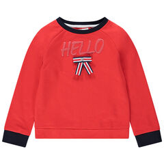 Sweat en molleton uni avec noeud plat tricolore