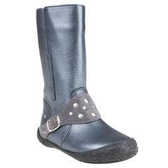 Laarzen in leder gespen zilverkleur met studs