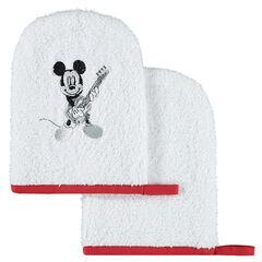Set met 2 Disney washandjes van badstof met Mickey motief