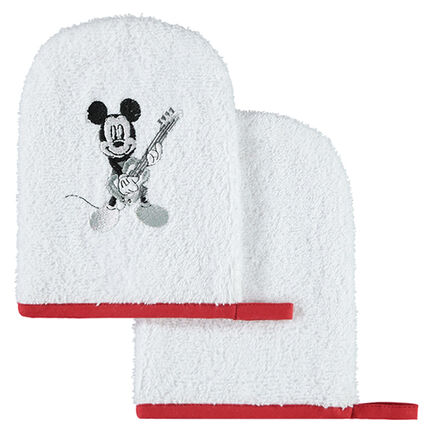 Set de 2 gants de toilette en éponge Disney motif Mickey