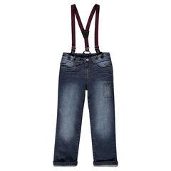 Jeansbroek met recht pasvorm used effect en crinkle effect met afneembare schouderbandjes met strepen