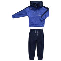 Jogging en molleton bleu à inscriptions printées et poches