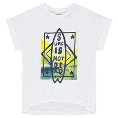 Junior - T-shirt met korte mouwen en surfprint aan de voorzijde