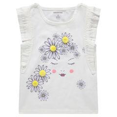 Tee-shirt manches courtes volantées avec fleurs printées et pompons
