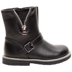 1/2 bottes effet cuir avec zip et strass fantaisie