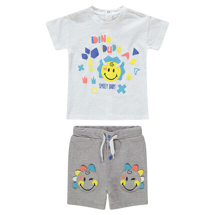 Ensemble avec tee-shirt print Smiley et bermuda avec Smiley patchés