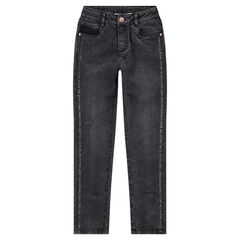 Junior - Jeans effet used avec inscriptions printées et zips