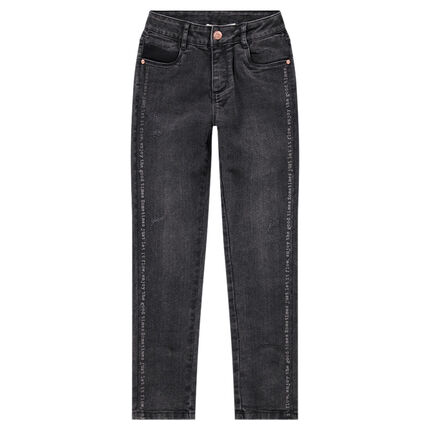Junior - Jeans met used effect en print met opschriften en ritssluitingen