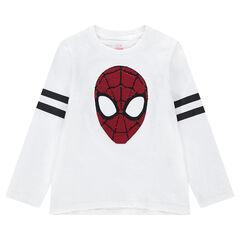 T-shirt met lange mouwen van jerseystof met ©Marvel Spiderman van magische lovertjes