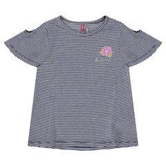 Tee-shirt manches courtes rayé avec épaules ajourées et badge fleur