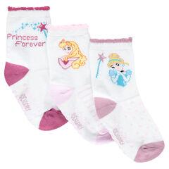 Lot de 3 paires de chaussettes assorties avec princesses ©Disney en jacquard